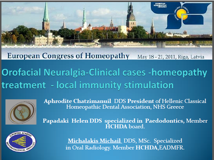 Orofacial Neuralgia-Clinical cases - Homeopathy treatment - Local Immunity stimulation
